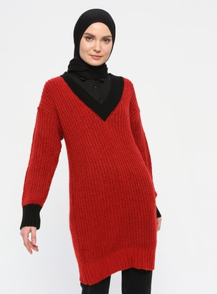 Red - V neck Collar - Acrylic - Wool Blend - Tunic