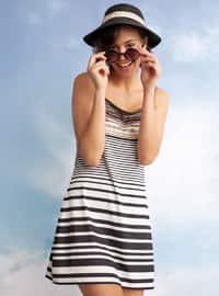 White - Black - Stripe - Half Covered Switsuits