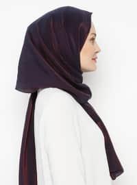 Purple - Printed - Plain - Shawl