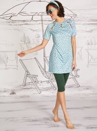 Blue - Green - Polka Dot - Half Covered Switsuits