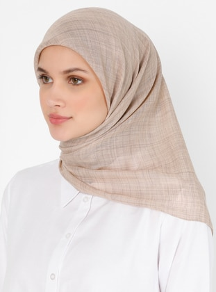 Beige - Brown - Plain - Viscose - Scarf