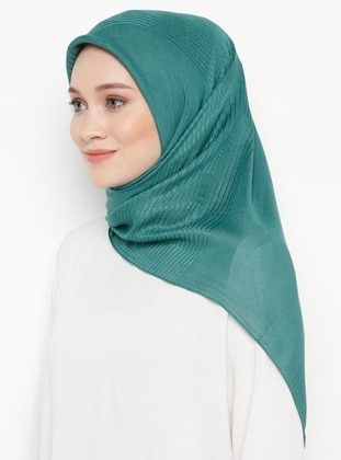 Green - Striped - Plain - Viscose - Scarf