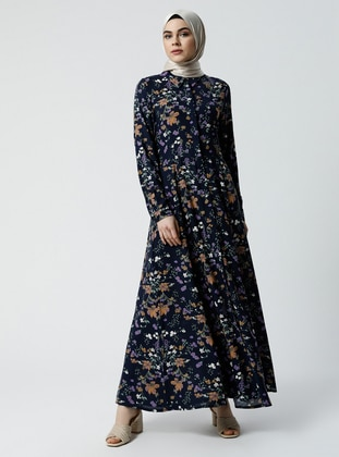 Navy Blue - Multi - Point Collar - Unlined - Viscose - Dress