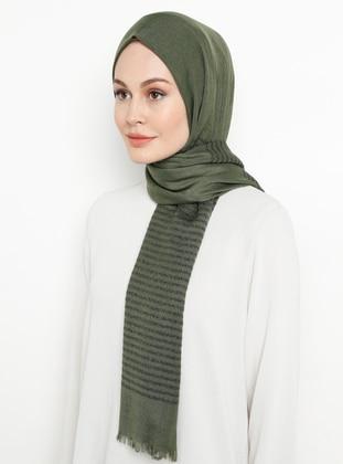 Khaki - Striped - Plain - Shawl