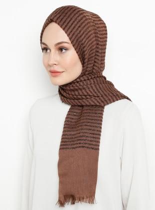 Brown - Striped - Plain - Shawl