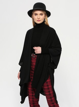 Black - Shawl Collar - Unlined - Acrylic -  - Poncho