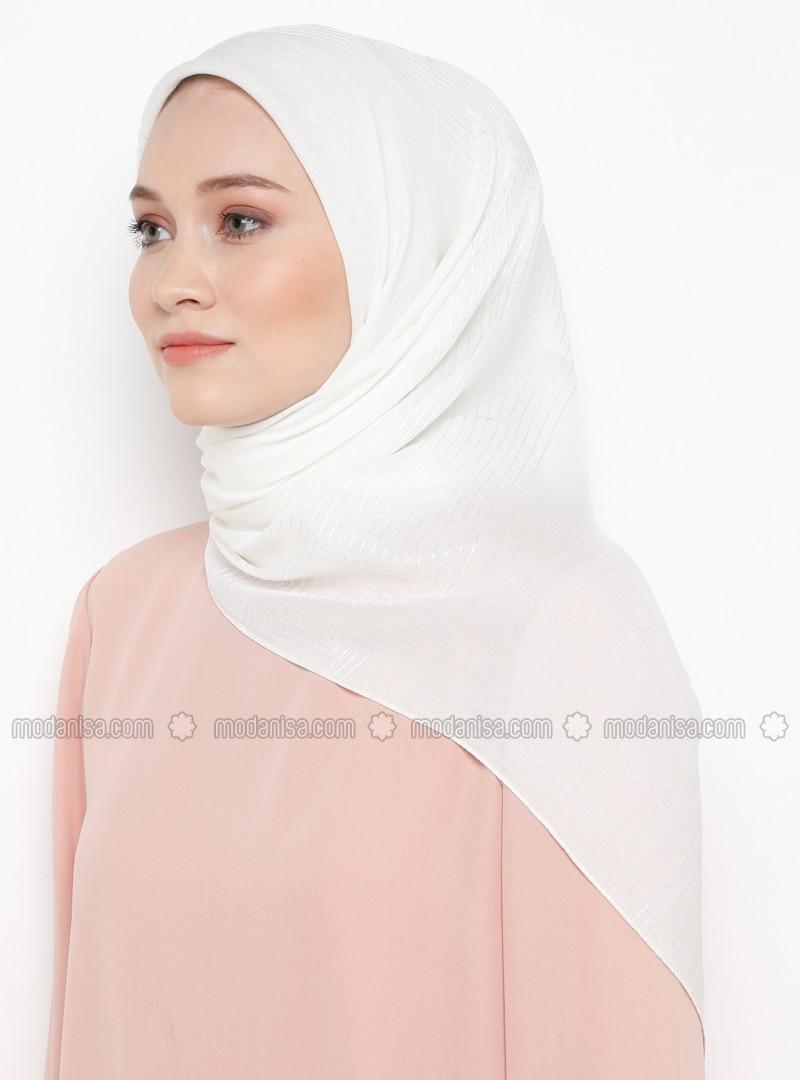 White - Striped - Plain - Viscose - Scarf