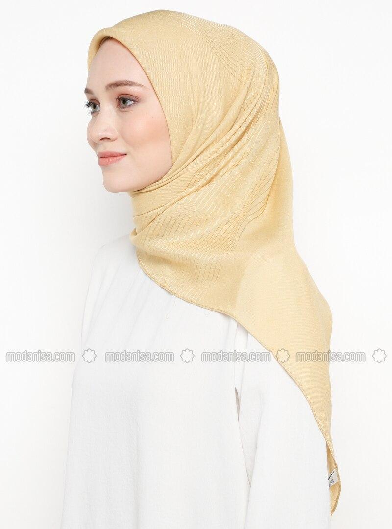 Gold - Striped - Plain - Viscose - Scarf
