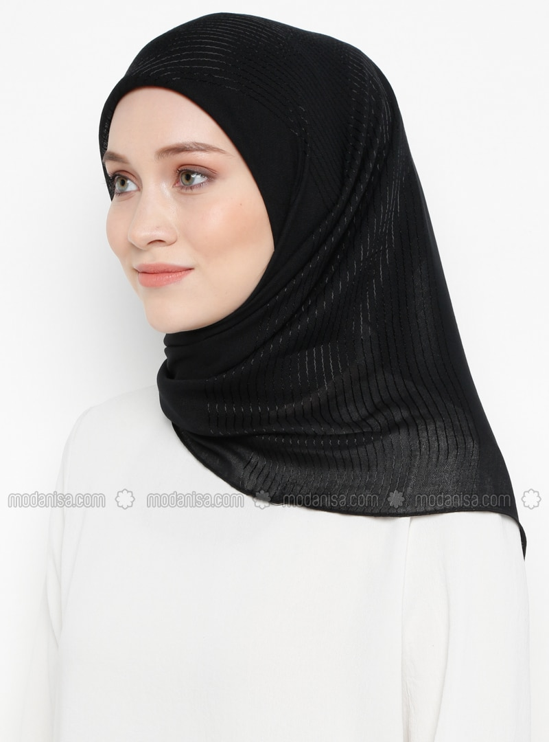 Black - Striped - Plain - Viscose - Scarf