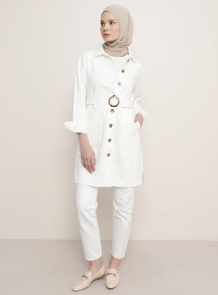 White - Ecru - Unlined - Point Collar - Denim -  - Jacket