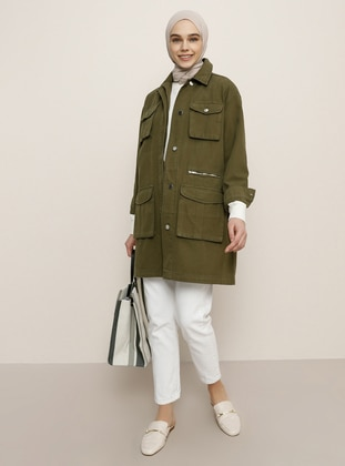 Khaki - Unlined - Point Collar - Denim -  - Jacket - Benin
