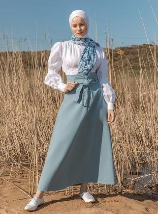 Blue - Unlined - Denim -  - Skirt