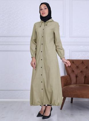 Cream - Unlined - Crew neck - - Abaya