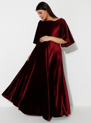 Maroon - Boat neck - Unlined - Maternity Dress