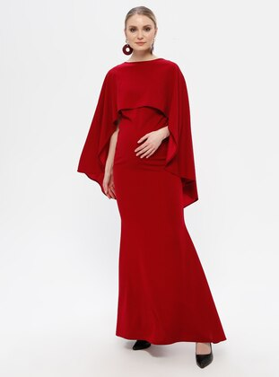 Red - Red - Boat neck - Fully Lined - Cotton - Maternity Dress