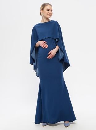 Blue - Saxe - Boat neck - Fully Lined - Cotton - Maternity Dress - Moda Labio
