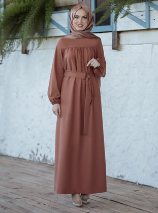 Tan - Crew neck - Unlined - Crepe - Dress