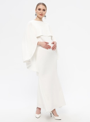 White - Boat neck - Fully Lined - Cotton - Maternity Dress