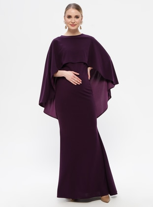 Plum - Boat neck - Fully Lined - Cotton - Maternity Dress