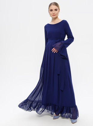 Blue - Saxe - Crew neck - Fully Lined - Maternity Dress
