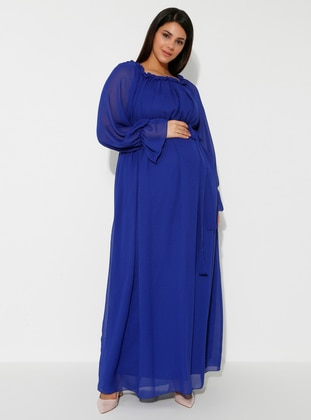 Blue - Saxe - Boat neck - Fully Lined - Cotton - Maternity Dress