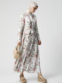 Beyaz - Kırmızı - Çiçekli - Fransız yaka - Astarsız kumaş - Viskon - Elbise