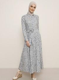 Pudra - Çiçekli - Fransız yakalı - Astarsız kumaş - Viskon - Elbise