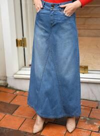 Blue - Unlined - - Skirt