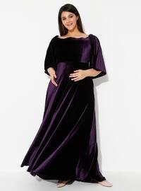 Mor - Kayık Yaka - Astarsız Kumaş - Hamile Elbisesi