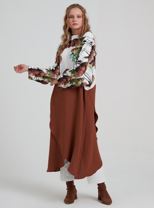 Brown - Multi - Crew neck - Tunic