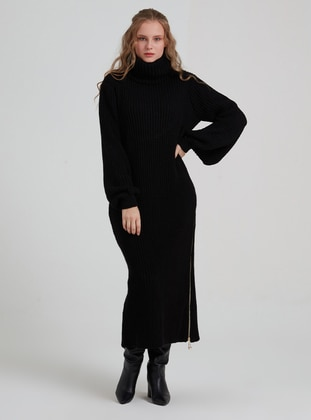 Black - Polo neck - Unlined - Acrylic - Dress