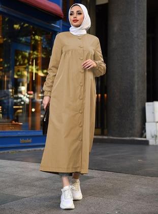 Camel - Unlined - Crew neck - Trench Coat
