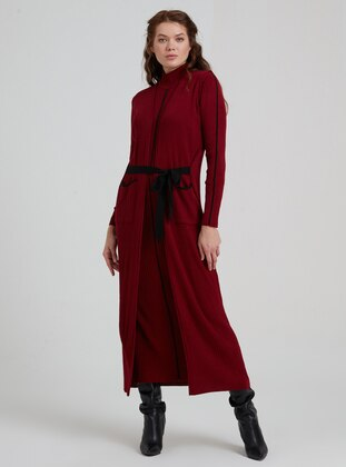 Maroon - Polo neck - Unlined - Acrylic - Wool Blend - Dress