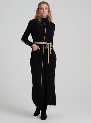Black - Polo neck - Unlined - Acrylic - Wool Blend - Dress
