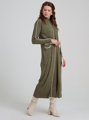 Green - Polo neck - Unlined - Acrylic - Wool Blend - Dress
