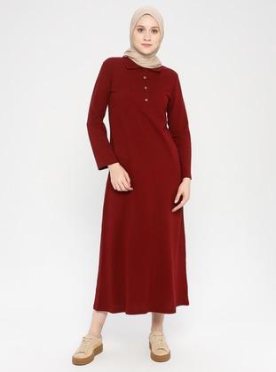 Plum - Point Collar - Unlined -  - Dress
