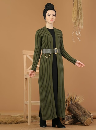 Khaki - Black - Stripe - Unlined - Acrylic -  - Knit Suits