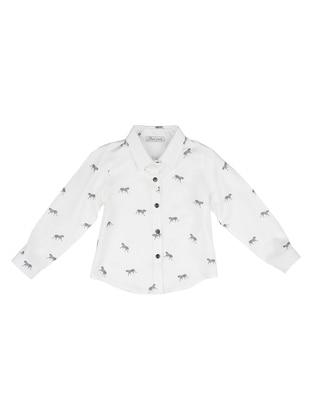 Point Collar -  - Unlined - White - Ecru - Girls` Shirt