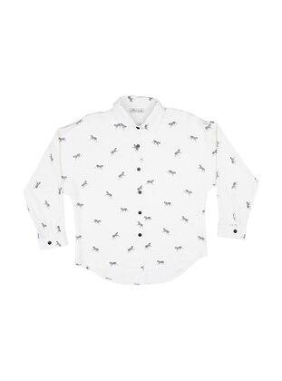 Point Collar - Viscose - Ecru - Girls` Shirt