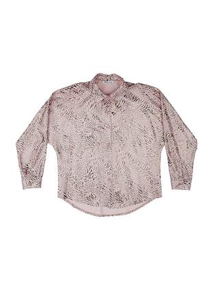 Point Collar - Viscose - Powder - Girls` Shirt