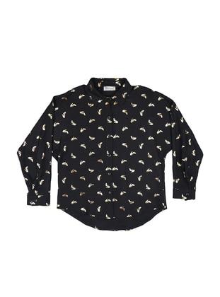 Point Collar - Viscose - Black - Girls` Shirt