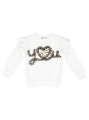 Crew neck -  - Ecru - Khaki - Girls` Sweatshirt