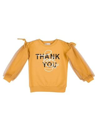 Crew neck -  - Mustard - Girls` Sweatshirt