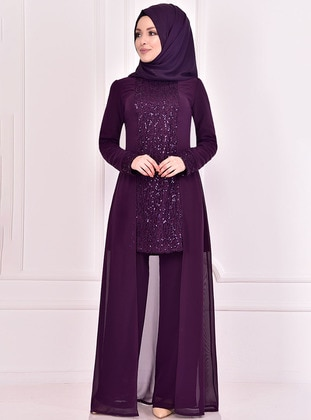 Fully Lined - Purple - Crew neck - Evening Suit - AYŞE MELEK TASARIM