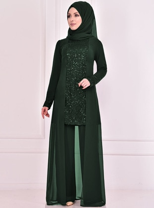 Fully Lined - Emerald - Crew neck - Evening Suit - AYŞE MELEK TASARIM