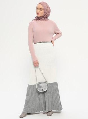 Gray - Powder - Polo neck - Unlined - Acrylic -  - Dress