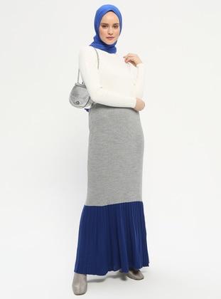 Gray - Saxe - Polo neck - Unlined - Acrylic -  - Dress