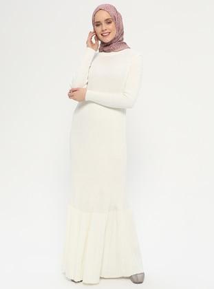Cream - Polo neck - Unlined - Acrylic -  - Dress