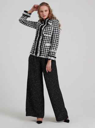 Black - Houndstooth - Acrylic - Suit
