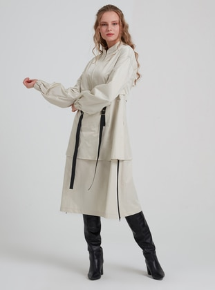 Beige - Crew neck -  - Trench Coat